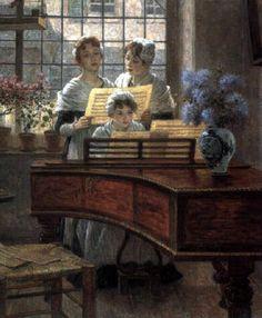 Women singing around the piano