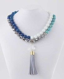 Adding a lovely necklace piece with your kaftan can really bring out the sophistication in any outfit and for the event. Our Tassel Necklace - Cross the seven seas, actually has fantastic assortment of blue stones, a little bit of sparkle with the silver stones and can be word with or without the tassel, doubled up or as a singular longer loop.
