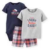 Plaid and tool-inspired screen prints are totally cool for your baby boy! Easy-to-wear and perfect for playtime, this 3-piece set is essential for his wardrobe.<br>