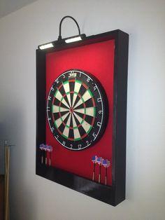 LIGHTED Red & Black Trim Dart Board Backboard/Surround Dartboard Cabinet w/ DMI Staple-Free Sisal Board- For Game Room, Man Cave Gift Idea