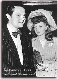 Rita Hayworth & Orson Welles. Hayworth married Orson Welles on September 7, 1943. None of her colleagues knew about the planned marriage (before a judge) until she announced it the day before they got married. For the civil ceremony, she wore a beige suit, ruffled white blouse, and a veil. Hayworth filed for divorce in 1948.