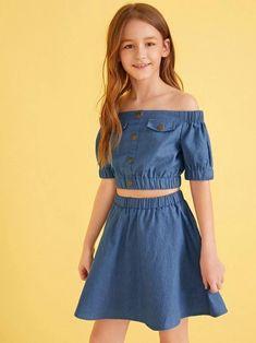 Girls Off Shoulder Button Detail Top & Skirt Set – Kidenhouse Girls Dresses Online, Dresses Kids Girl, Kids Outfits Girls, Cute Girl Outfits, Little Girl Outfits, Cute Dresses, Casual Outfits, Preteen Fashion, Girls Fashion Clothes