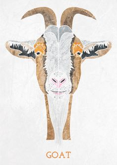 GOAT, Geometric illustration, Animal head www.alicemacleansmith.com Copyright 2014 Alice Maclean Smith