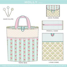 Pretty Pastel Collection designs, free patterns and tutorials coming soon Baby Fabric, Fabric Bags, Fabric Crafts, Sewing Crafts, Sewing Projects, Patchwork Bags, Quilted Bag, Sewing Tutorials, Sewing Patterns