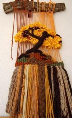 wonderful woven textured hanging with a tree and natural hanger Weaving Textiles, Tapestry Weaving, Loom Weaving, Hand Weaving, Weaving Projects, Crochet Projects, Yarn Crafts, Diy And Crafts, Peg Loom