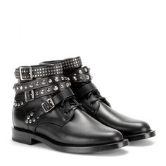 Saint Laurent Rangers Leather Ankle Boots (€990) ❤ liked on Polyvore