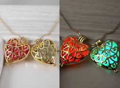 Glow in the dark necklace gold heart cage pendant by AraMarie