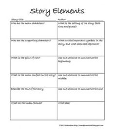 Literary Elements Worksheet: Summarizing Short Stories  Story Elements and Conflict    ,