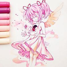 Madoka kaname /070\  Quería pintar con colores rosas y y damasco  Alguien conoce el anime citrus? Intenté verlo pero la coprotagonista me desagrada, trata muy mal a la protagonista, en serio, es insufrible :'( Sé que como en toda historia Mei será mejor, pero no puedo, simplemente no la paso   Aunque dejé el anime... Team harumin! No me importah naaah! XD