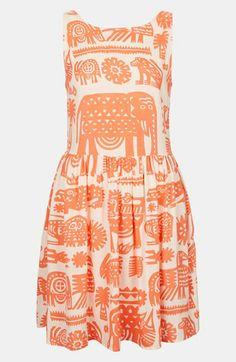 Topshop Ladder Back Print Dress