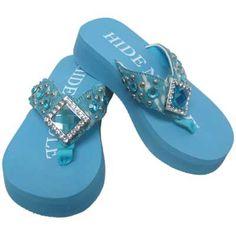 c07a796b9 Hide N Sole Flip Flops - Sky Blue with Western Rhinestones and Diamond-