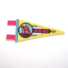 Maine Souvenir Pennant, Vintage Miniature ME Felt Flag in Bright Yellow with Lobster by planetalissa on Etsy