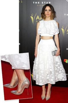 We love the Maticevski crop top and skirt Rose Byrne donned for the AACTA Awards in Sydney but it's her Kurt Geiger cut-away heels that we really can't get over.