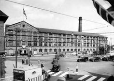 Turney Brothers leather works factory on Trent Bridge , Nottingham in 1953