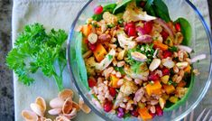 Roasted Vegetable Farro Salad with Pomegranate and Pistachio