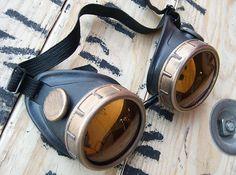 STEAMPUNK Cyber Metal-Look Goggles  Two Tone  BLACK by jadedminx