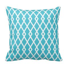 Aqua Diamond Trellis Pillow