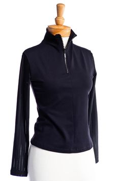 Long Sleeve Swarovski Elements® Zip Top with Sheer Sleeves