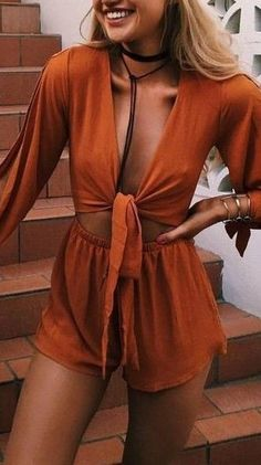 #prefall #muraboutique #outfitideas | Orange Boho Romper