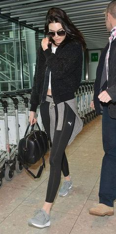 How to wear gym clothes to the airport and still look just as stylish as Kendall Jenner - click to see more model travel outfits