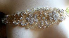 Rhinestone Applique in Gold for Bridal Sashes by MaryNotMartha, $38.00