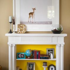 fireplace mantel to bookcase? brilliant!