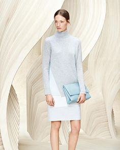 Feminine contradiction: light and airy shades for a subtle color-block effect #thisisboss #resort2016 - Shop now for hugoboss > http://ift.tt/1Ja6lvu