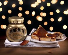 Hornall Anderson has designed the packaging for the limited-edition Marmite Gold, which contains edible gold flecks. Good Food, Yummy Food, Fun Food, Marmite, Tiramisu, Nom Nom, Toast, Food And Drink, Cooking Recipes