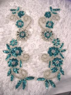 0183 Turquoise & Silver Mirror Pair of Sequin Beaded Appliques - Couples Costumes Bead Embroidery Tutorial, Bead Embroidery Patterns, Embroidery Designs, Powwow Beadwork, Indian Beadwork, Beading Techniques, Beading Tutorials, Tambour Beading, Pearl Embroidery