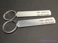 Keychains for Couples, His Feisty Her Weirdo with Custom Anniversary Dates, Hand Stamped Aluminum