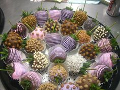 purple chocolate covered strawberries!!!!