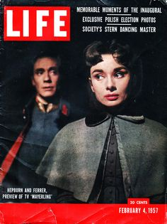 Audrey Hepburn and Mel Ferrer on the cover of LIFE Magazine promoting their live television debut in the TV movie Mayerling. February 4, 1957.