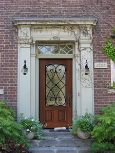 Traditional Front Door with Glass panel door, Prehung Single Door 80 Wood Alder Charleston Arch Lite Wrought Iron [6[7[1[5