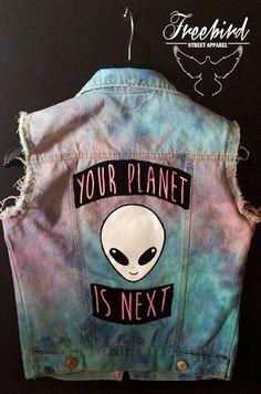 Alien Invasion Tie Dye Soft Grunge Pastel Denim Vest