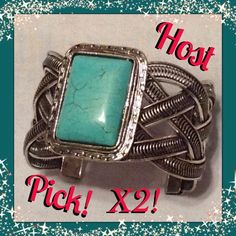Host Pick! X2  Turquoise Cuff Bracelet Turquoise Cuff Bracelet. Not sure the metal but I know it's not sterling silver (I wore it once and had a reaction to it because I'm allergic to anything but Sterling  Silver) beautiful rectangle turquoise stone with a braided metal cuff. Jewelry Bracelets
