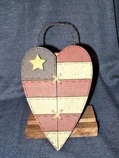 Heart Shaped Primitive Style Wood American Flag Country Wall Decor NWOT #Handmade #Americana