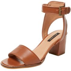 Ava & Aiden Women's Cork Heel Two-Piece Sandal - Cognac, Size 5 (5.070 RUB) ❤ liked on Polyvore featuring shoes, sandals, heels, cognac, leather sandals, leather high heel sandals, leather heeled sandals, ankle strap high heel sandals and cork heel sandals