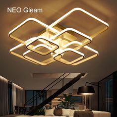 rectangle acrylic aluminum modern led ceiling lights for living room bedroom ac85265v new white