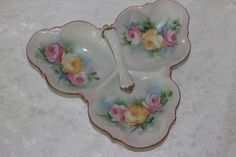 Vintage Tidbit Tray Hand Painted Porcelain Floral Pink Yellow Roses Gold Trim Handle Candy Nut Dish Serving Decor by TresorsEnchantes on Etsy