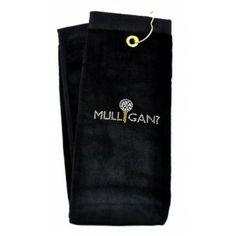 Mulligan Black crystal terry cloth golf towel