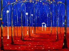 RAINY IMPRESSION original oil painting knife couple rain park 30x40 MALORCKA ART #Impressionism
