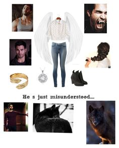 """""""The angel and the wolf"""" by dauntless-shadowhunter ❤ liked on Polyvore featuring J Brand, Acne Studios, Carolina Glamour Collection and Melinda Maria"""