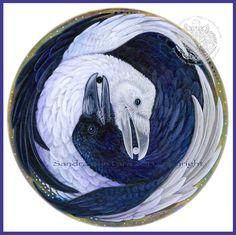 Raven zwart-wit Yin Yang Print