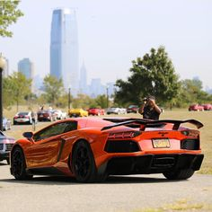 Lamborghini Aventador Coupe painted in Arancio Argos  Photo taken by: @nyexoticcars on Instagram