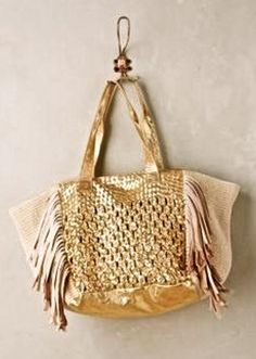 NEW Anthropologie gold natural weaved Claramonte Meriska Fringed Tote  #Claramonte #tote