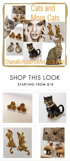 Cats and More Cats! by diana-32 on Polyvore featuring CORO and vintage