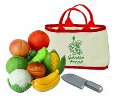 "Kidoozie Garden Fresh Fruits & Veggies by iPlay. $15.94. From the Manufacturer                Garden Fresh Fruits & Veggies, ""peel-able"" fruits and veggies come complet with a safe knife for cutting.  Canvas shopping tote with mesh bottom.  Case pack 6                                    Product Description                2 years & up. Children will enjoy these ""peel-able"" fruits and veggies. Slice them apart with the safe, plastic knife and then Velcro  them bac..."