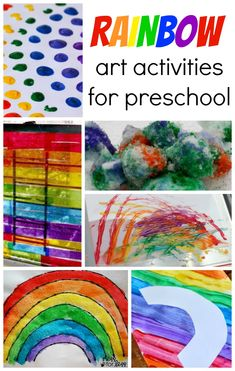 #Rainbow Art Activities for Preschool - Coffee Cups and Crayons.  Rainbow crafts for children.