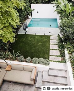 Another pic of our recently photographed Coogee project. A small pool for a really small backyard. This site posed many challenges, mostly… Backyard Pool Landscaping, Backyard Pool Designs, Swimming Pools Backyard, Backyard Ideas, Courtyard Pool, Pool Ideas, Design Patio, Pool Landscape Design, Small Backyard Design