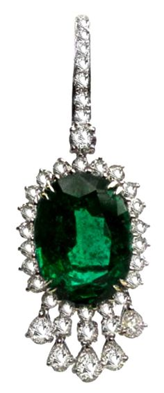 Euro Antique Emerald & Diamond Ear Pendant